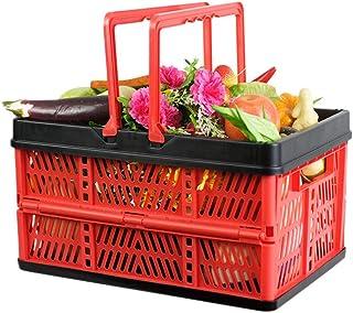 Caisse de Rangement Pliante avec Poignées Panier Pliable Boîte de Transport Boîte Pliante Plastique Chariot de Course Réut...