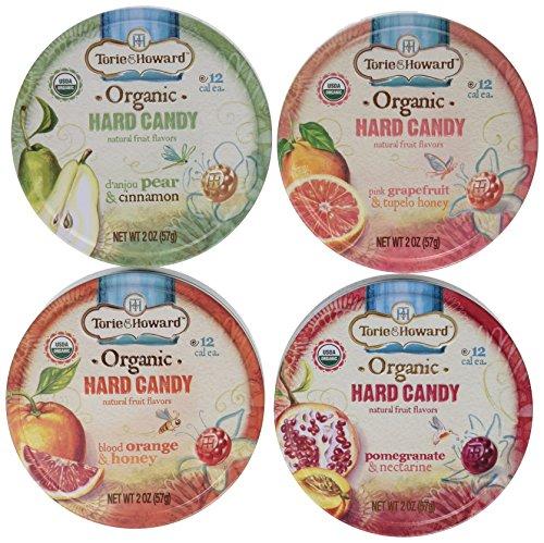 Torie & Howard Organic Hard Candy 4 Flavor Variety Bundle: Blood Orange & Honey, Pomegranate & Nectarine, Pink Grapefruit & Tupelo Honey and Danjou Pear & Cinnamon, 2 Oz. Ea