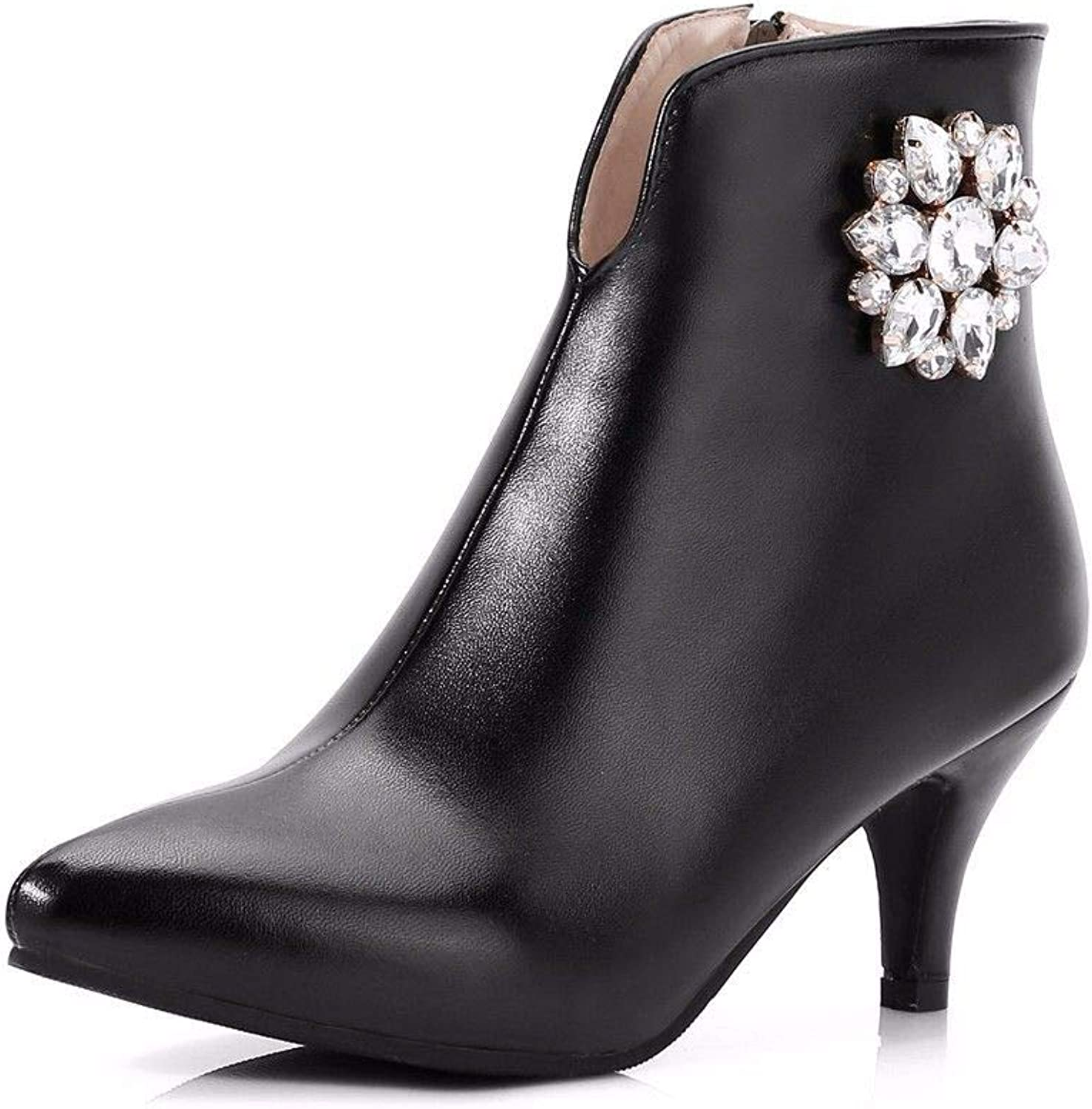 Autumn and Winter Female high-Heeled shoes Type Diamond Pointed Boots Size shoes