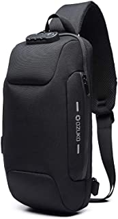 Anti Theft Sling Bag Shoulder Crossbody Backpack Waterproof Chest Bag with USB Charging Port