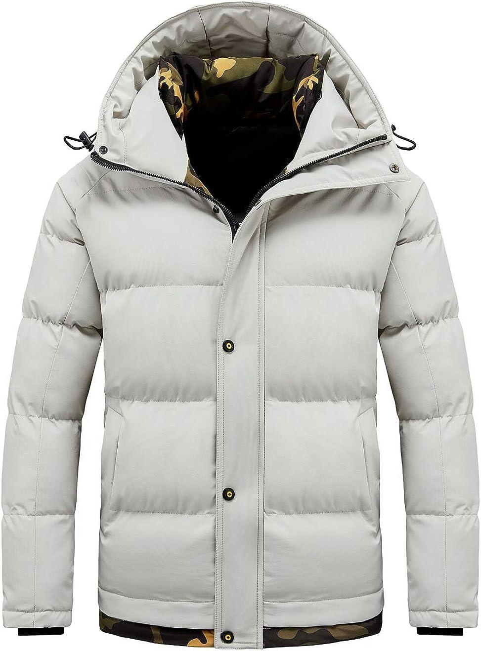 chouyatou Men's Active Camo Spliced Padded Hooded Winter Alternative Down Jacket