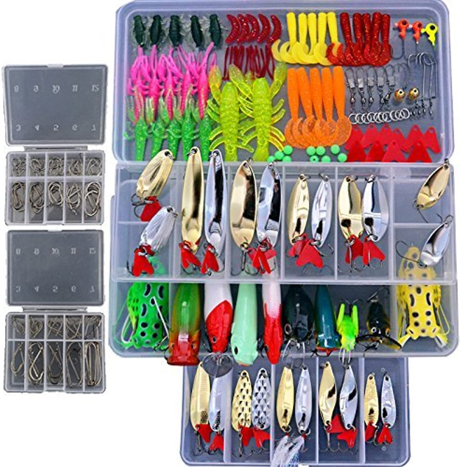 blueenet 226 Pcs Soft Plastic Fishing lures Tackle Kit Including Bionic Bass Trout Salmon Pike Fishing Lure Frog Lures Minnow Popper Pencil Crank Soft Hard Bait Fishing Lure Metal Spoon Jig Lure
