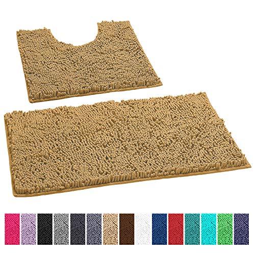 LuxUrux Bathroom Rugs Luxury Chenille 2-Piece Bath Mat Set, Soft Plush Anti-Slip Shower Rug +Toilet Mat.1'' Microfiber Shaggy Carpet, Super Absorbent Machine Washable Mats (Curved Set, Marzipan)
