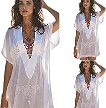 Qjoy Vestido de Baño para Mujer, Estilo Sexy, para Playa, Playa, Playa, Playas de Gasa Transparentes y Profundas, Bañador de Bikini, Blanco, Mediano