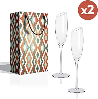 Champagne Flutes Glasses set of 2, Slanted Toasting Flutes, 6 oz Stem Flute Champagne Glasses, Hand-Blown Lead Free Crystal Glass Gift Box, Perfect Gift For Wedding, Anniversary, Christmas