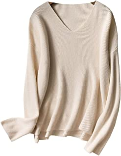 DISSA F4803 Women Cashmere V-Neck Slim Long Sleeve Jumper