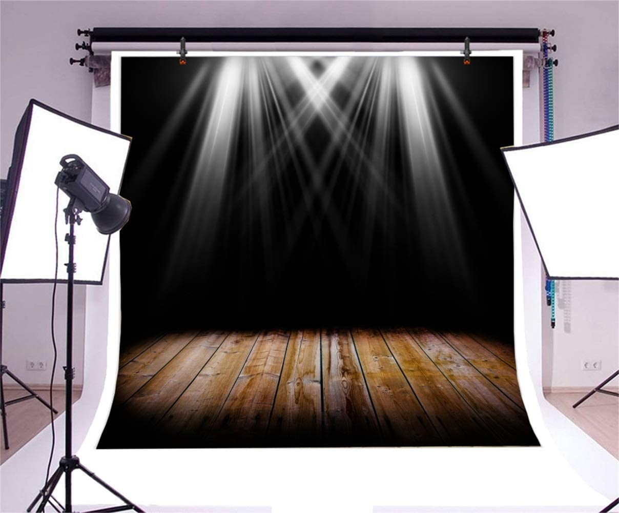 8x8ft Grunge Vintage Stage Backdrop Polyester Shabby Heart Shape Door Red Curtain Square Stone Stairs Stage with Light Decors Rustic Floor Background Live Show TV Programming Child Adult Shoot