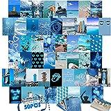 Kit de collage de pared estético azul, 50 juegos de 4 x 6 pulgadas, collage de pared para decoración de la habitación, decoración de carteles de pared para adolescentes, fotos de pared para habitación