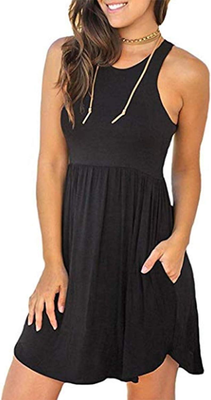 Beyove Women Summer Sleeveless Plain T Shirts Dresses Casual Short Dress with Pockets