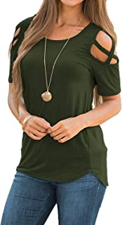 Sarin Mathews Womens Strappy Cold Shoulder Tops Casual Tees Loose Basic T Shirts