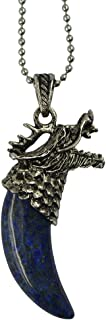 F Fityle Retro Mens Tribal Dragon Head Fang Tooth Crystal Pendant Chain Necklace