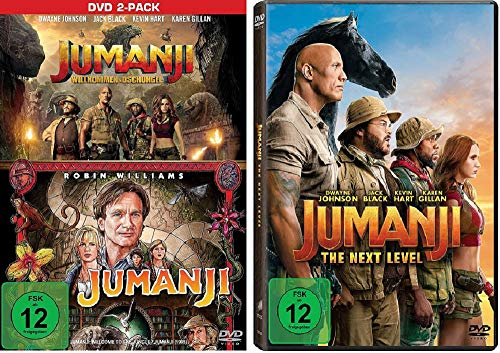 Jumanji + Jumanji: Willkommen im Dschungel + Jumanji: The Next Level [DVD Set] 3 Filme