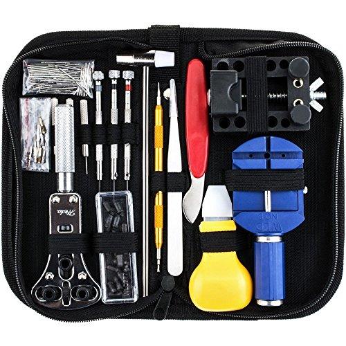 HYLH 147tlg. Uhrmacher-Set Profi-Schraubendreher-Federstab-Werkzeugsatz, Uhrenarmband-Verbindungsstift-Entferner-Werkzeugsatz mit Tragetasche