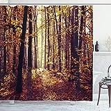 ABAKUHAUS Wald Duschvorhang, Misty Wetter Wald, mit 12 Ringe Set Wasserdicht Stielvoll Modern Farbfest & Schimmel Resistent, 175 x 200 cm, Dunkel Orange & Braun Hellgelb