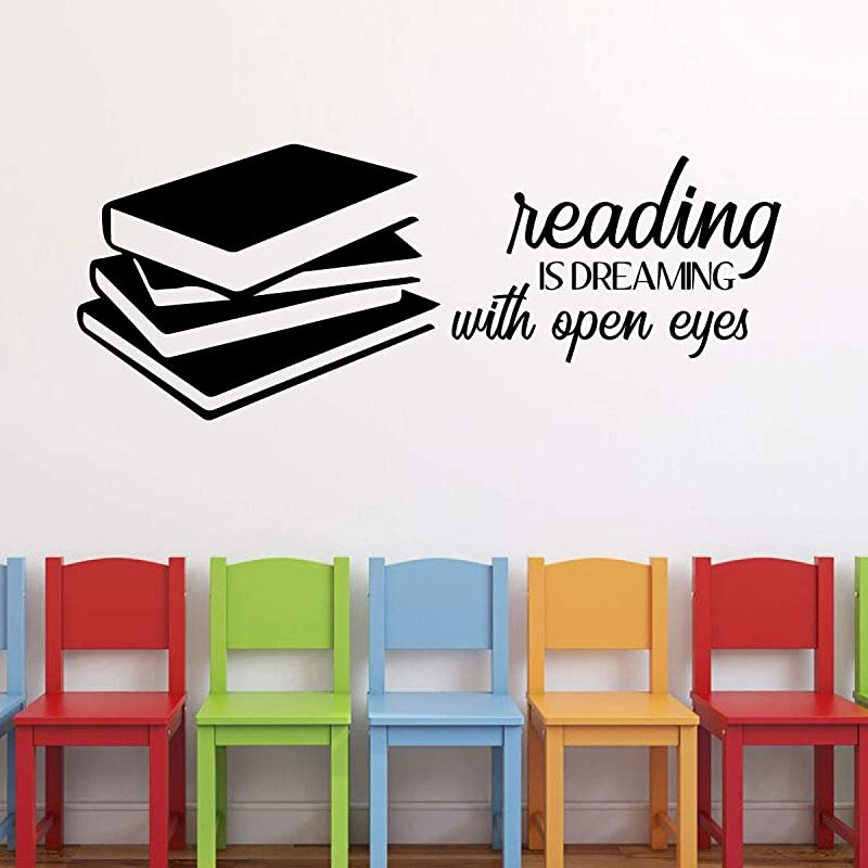 Vinyl Wall Decal For Those Who Love To Read Reading Is Dreaming With Open Eyes With Silhouette Books For Children S Bedroom Or Playroom