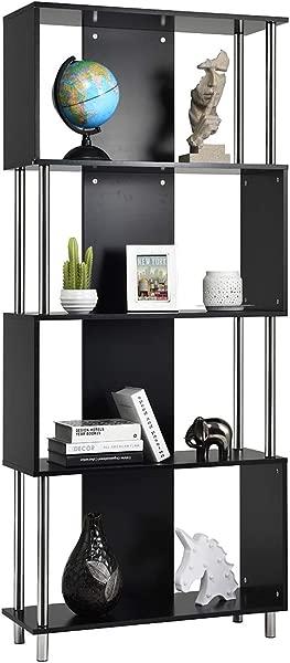 Giantex 4 号置物架书架现代展示架整理架蛇形书架工业风格收纳展示单元书架 72 5h 黑色