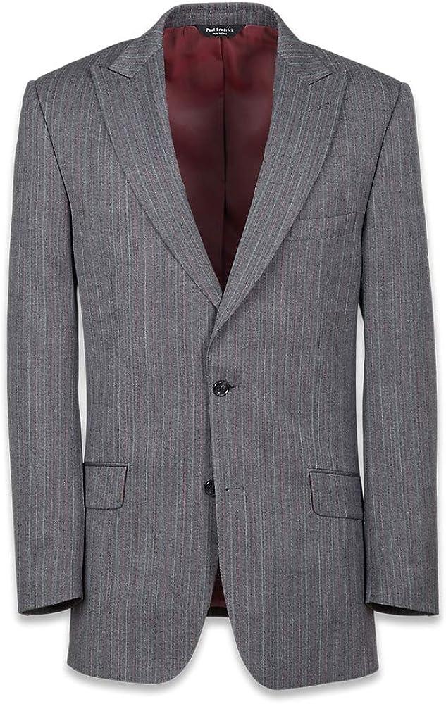 Paul Fredrick Men's Tailored Fit Herringbone Peak Lapel Suit Jacket