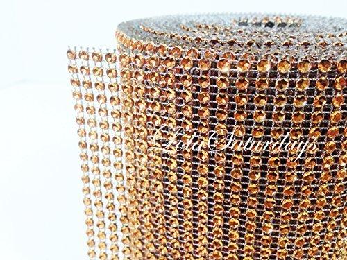 "LolaSaturdays 4.5""x 30FT Diamond Rhinestone Ribbon Wrap Roll- Cake and party decoration (Diamond, Orange)"