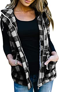 Womens Buffalo Hooded Plaid Corduroy Vest Flannel Winter Casual Coat Cardigan