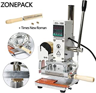 ZONEPACK Digital Embossing Machine with Stamping Letter Hot Foil Stamping Machine Manual Tipper Stamper Heat Press Machine for PVC Leather PU and Paper Stamping with Paper Holder (Machine with Time New Roman)