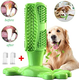 Erichome Dog Toothbrush Chew Toys - 2019 Upgraded Puppy Dog Teeth Cleaning Stick - Natural Rubber Dental Toothbrush Toys for Dog,2PC with Finger Toothbrush