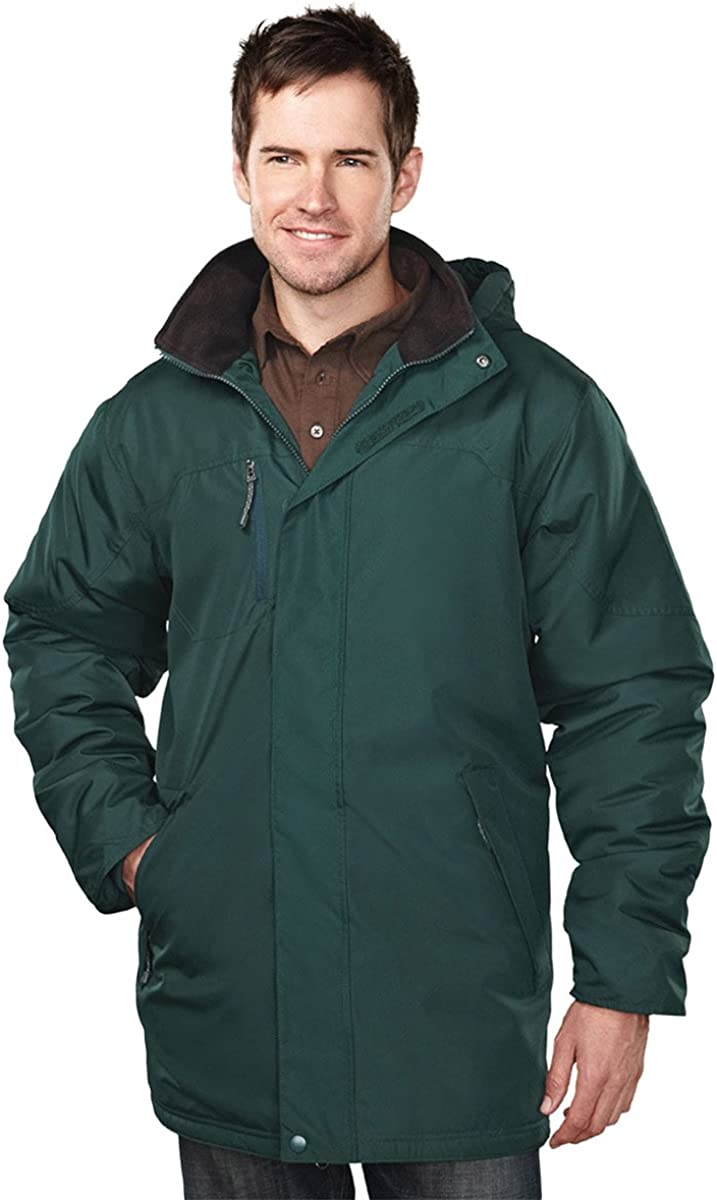 Tri-mountain Mens 100% Polyester long sleeve jacket with water resistent - FOREST GREEN/BLACK - Medium