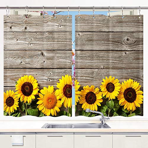 DYNH Sunflower Kitchen Curtain, Spring Flowers on Rustic Wood Plank Country Theme Window Curtain Panels, Waterproof Kitchen Curtains Drapes 10PCS Hooks 55X39 in Valance