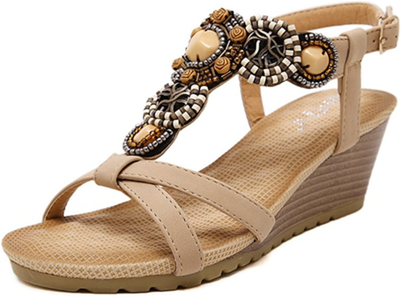Zarbrina Womens Wedge Sandals Bohemian Beads Adjustable Buckle up High Platform Cushioned Footbed Wear