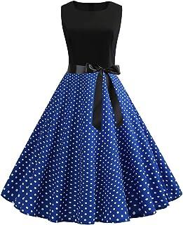 Makaor Vestido de Fiesta clásico de los años 50, con Lunares, sin Mangas, Cintura Alta, Color Gris