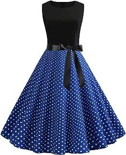 Vintage Print Big Swing Dress Ladies Sleeveless Round Neck Polka dot high Waist 1950s Party Dance Swing Dress MEEYA