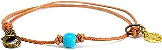 Balla Turquoise Stone Bracelet - Adjustable Double Wrap Bead Bracelets for Women - Blue Bright Centerpiece Natural Stone B...