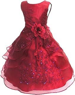 77612a9201afd LSERVER Enfant Filles Robe Mariage Soirée Princesse Demoiselle Bustier  Fleur Jupe Longue