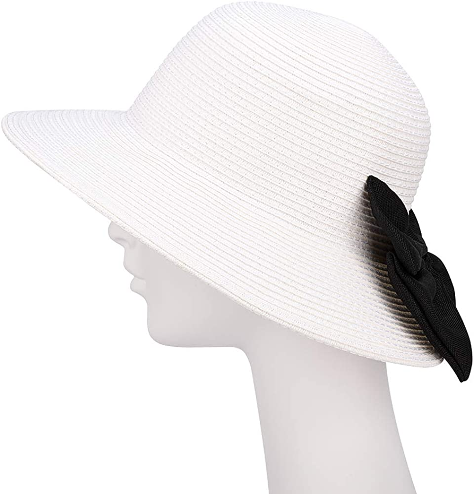Protection Straw Cap Sowift Sun Hats with Bow for Women Floppy Wide Brim Beach Hats with UV UPF 50