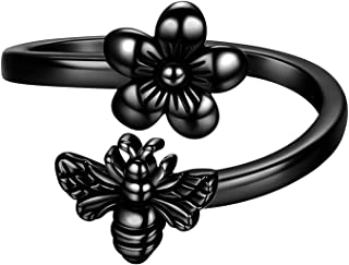 Beautlace Honey Bee and Flower Adjustable Ring Silver/18K Gold/Black Gun Plated Daisy Flower Bee Open Ring Jewelry Gift fo...