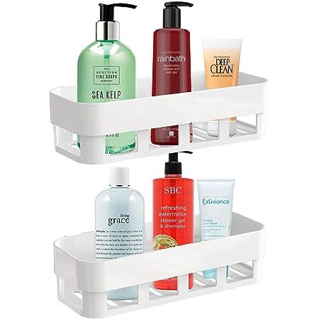 HEKIBE Pack of Two Multipurpose ABS Plastic Strong Adhesive Kitchen & Bathroom Wall Shelf // Bathroom Shelf Without Drilling // Holder Storage Rack // Bathroom Rack (Shelf 2 Qty)