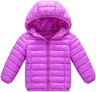 XILALU Baby Girl Boy Kids Light Down Jacket,Windproof Zipper Cable Hooded Coat Winter Warm Toddler Snowsuit(18M-8T)