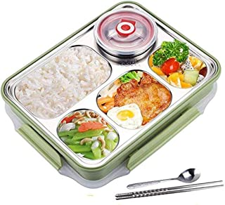 5 Compartments Lunch Box Stainless Steel Leak-Proof Large Bento Boxes Soup Container Eco Lunch Box for Kids & Adults with ...