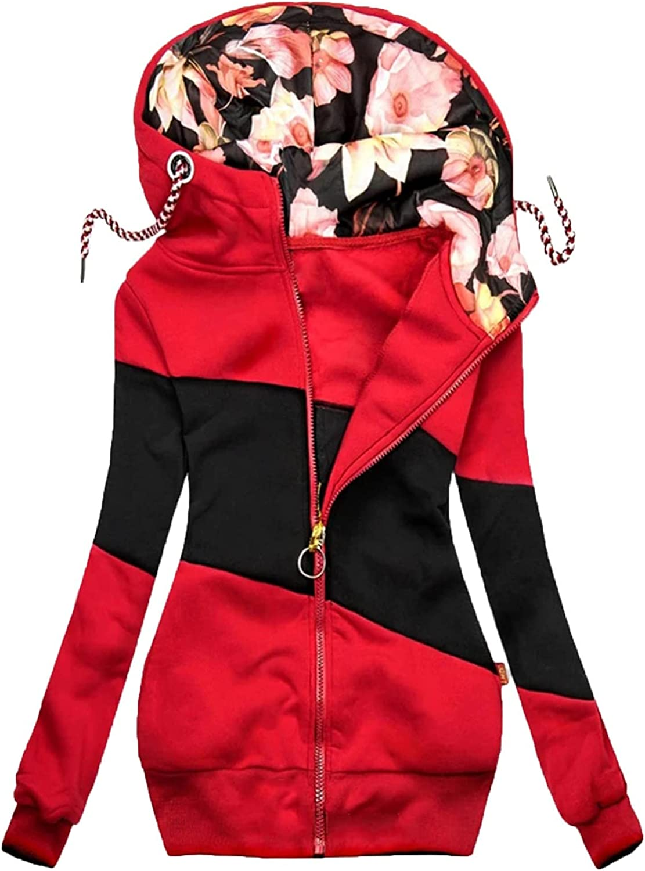 MINGE Women's Turtleneck Hooded Stitching Jacket Zipper Pocket solid Sweatshirt Long Sleeve Coats