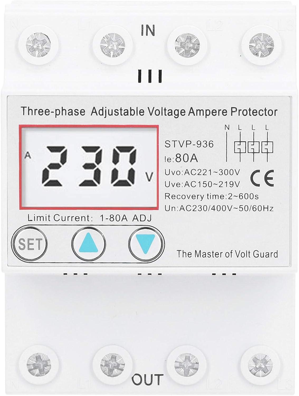 Dispositivo de Protecci/ón de Voltaje de Reinicio Autom/ático Dispositivo de Protecci/ón de Voltaje Protector de Reinicio de Retardo Protector de Voltaje Ajustable 80A