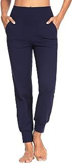 MOVE BEYOND Donna Pantaloni e Pinocchietti Jogger con 4 Tasche, a Vita Alta Pantaloni Sportivi Allenamento con Polsino