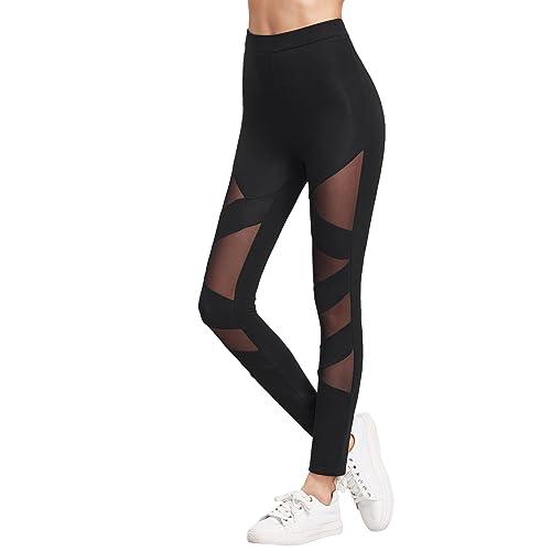 2ab87c2f97ceab SweatyRocks Women's Mesh Panel Side High Waist Leggings Skinny Workout Yoga  Pants