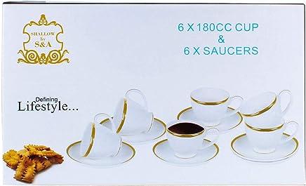 Shallow Porcelain 180CC Tea Cup & Saucer Set, 12-Piece Set, White FPR-021