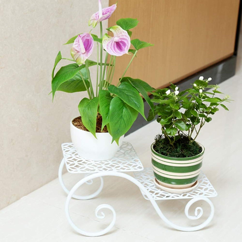 BXJ Flower Pot Rack Wrought Iron Flower Balcony Flower European Multi-Layer Floor Type Indoor Flower Stand (color   White)