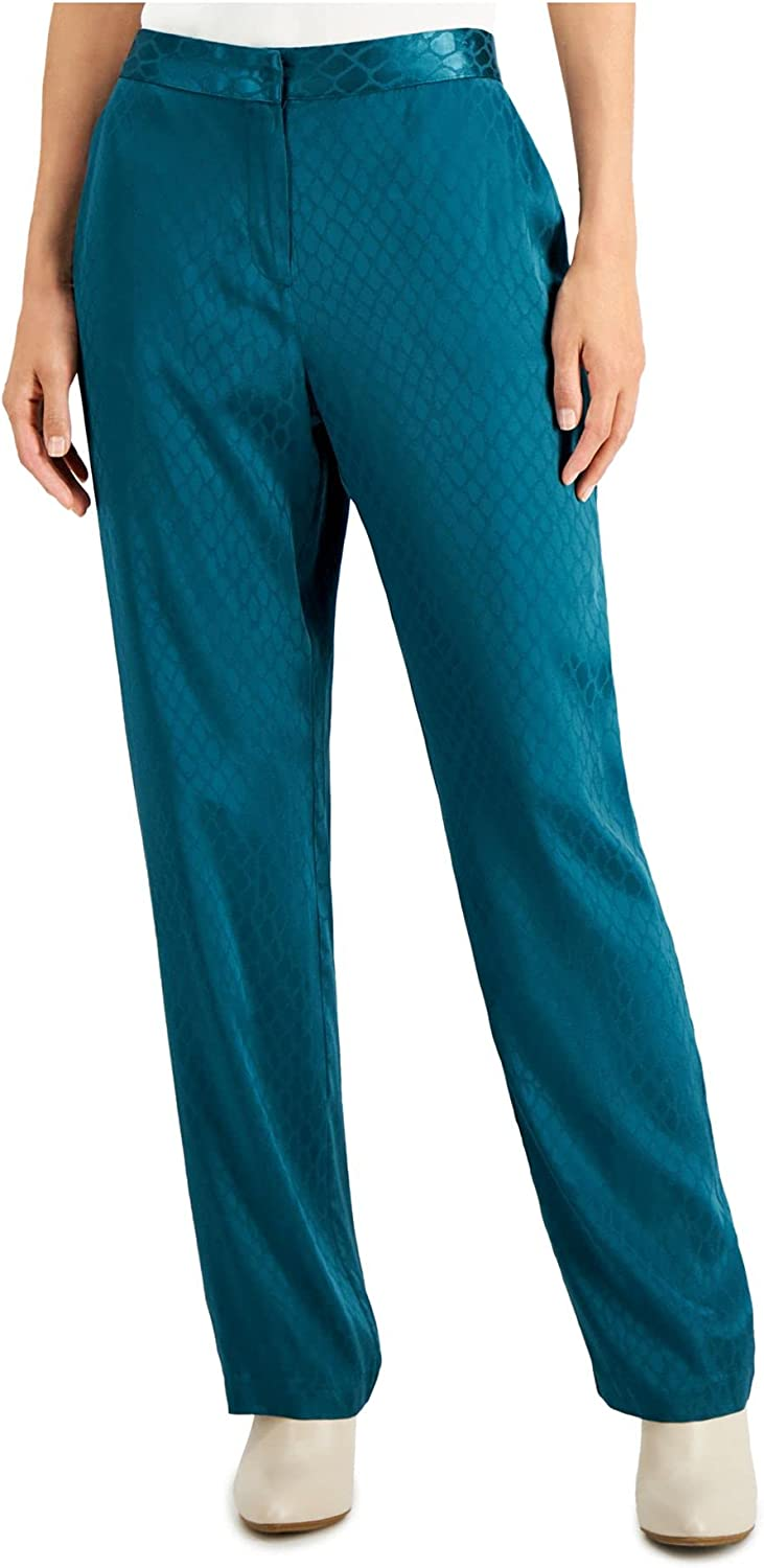 Alfani Womens Teal Pocketed Straight Leg Wear to Work Pants Size 6