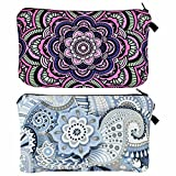 2 Pieces Makeup Bag Cosmetic Bag for Women Waterproof Travel Toiletry Bags with Zipper Mandala Flowers Small Makeup Bag for Purse Roomy Accessories Organizer Bag Portable Makeup Bag Girls Gifts