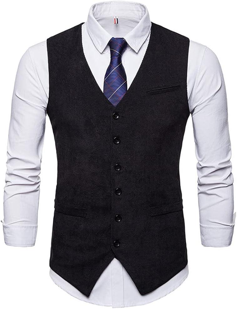 YFQHDD Mens Corduroy Suit Vest Mens Foramal Weeding Dress Vests Waistcoat Men Gilet Business Wedding Tuxedo (Color : C, Size : XXL code)