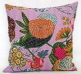 Funda decorativa para sofá hippie bohemio, hecha a mano, cojín de algodón kantha, manta bohemia, fundas de almohada (rosa bebé, 50,8 x 50,8 cm)