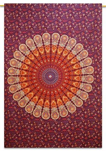 Handicrunch Baumwolle Mandala rot Wandteppich Wandbehang Wohnheim Zimmer Twin-Size-Bettlaken 84