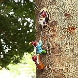 Gartenzwerge Wetterfest Gartendeko Figuren für Außen groß Gartenzwerg Gartenstatuen Resin Harz Kletterzwerg Skulptur Zwerg Kunst Statue Yard Ornament Home Decor (B)