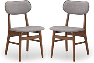 Baxton Studio Sacramento Mid-Century Dark Walnut Wood and Grey Faux Leather Dining Chairs (Set of 2)